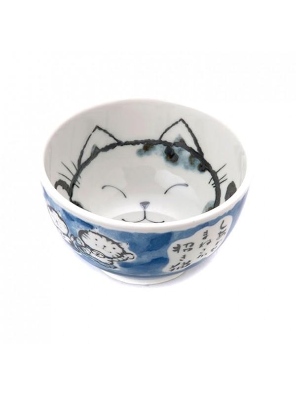 Ciotola ceramica disegno maneki neko (13x7,5cm) Blu