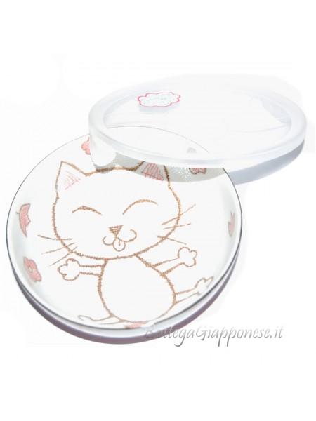 Ciotola ceramica disegno gatto rosso coperchio (16x5,5cm)
