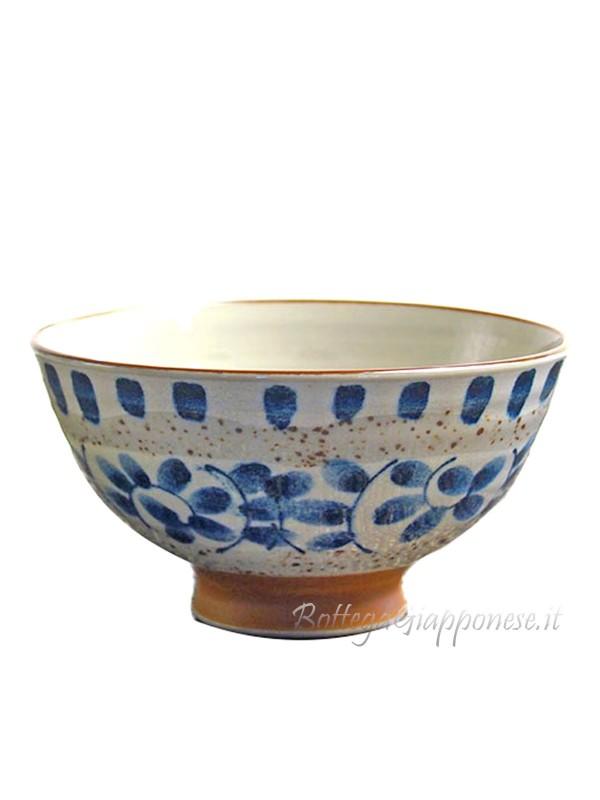 Ciotola decorata petali blu (14x6,5cm)