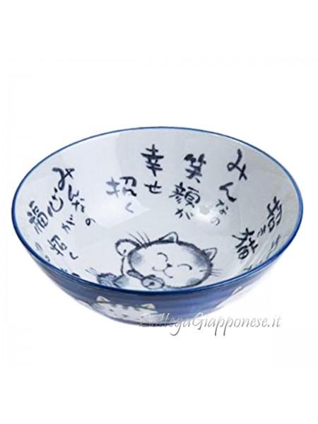 Ciotola con disegno di maneki neko fortuna (14x6,5cm)