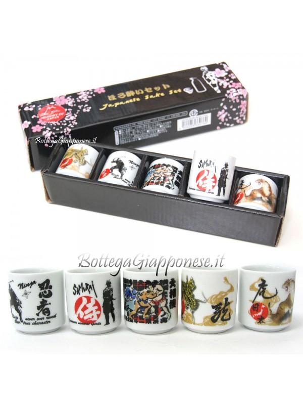 Bicchierini da sakè nippon set 5 pezzi