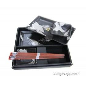 Box sushi set nero x2 piatti ciotole e bacchette