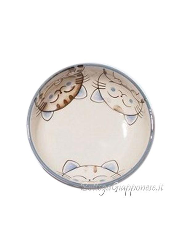 Ciotola ceramica con facce di neko blu (16x5,5cm)