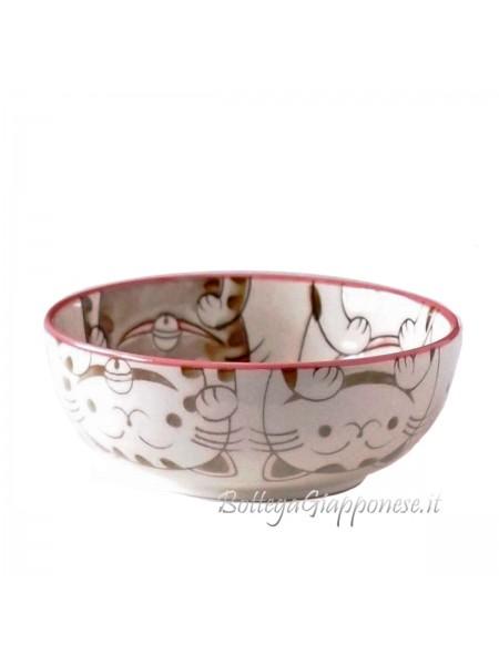 Ciotola ceramica con facce di neko felici (16x5,5cm)
