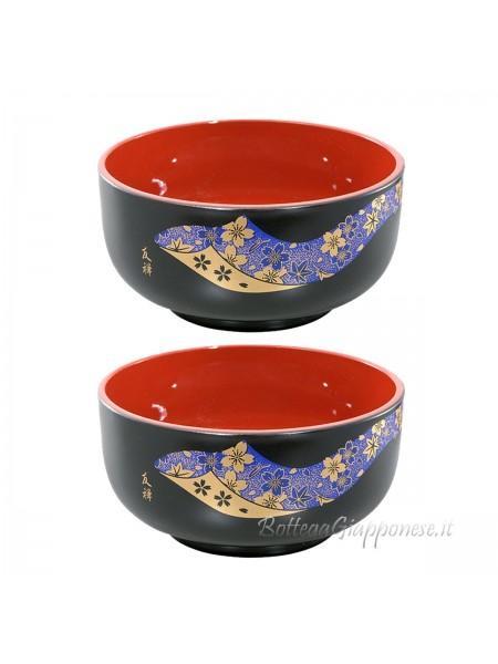 Ciotola donburi yuzen blue con laccatura