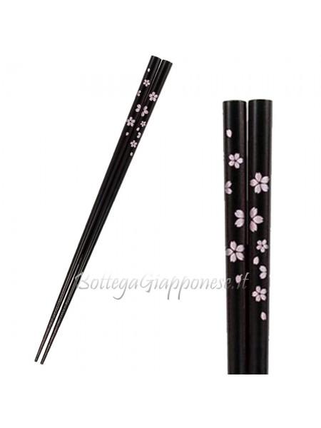 Hashi bacchette nere disegno sakura