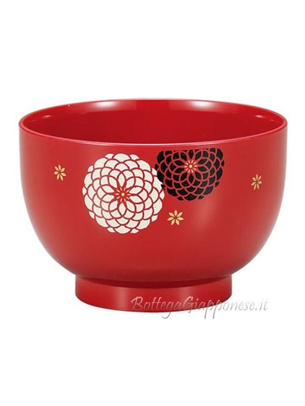 Ciotola soup rossa con laccatura