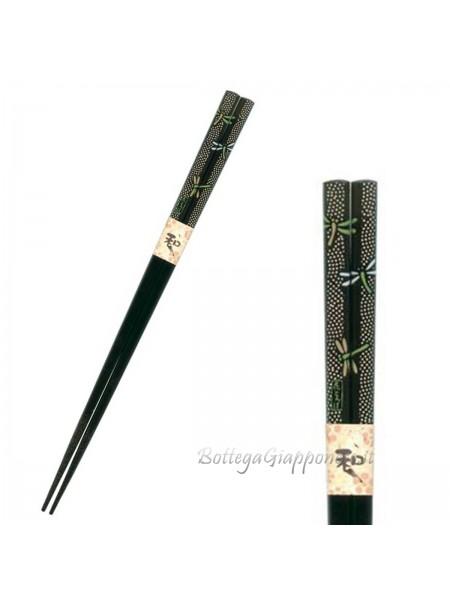 Hashi bacchette nere con libellula