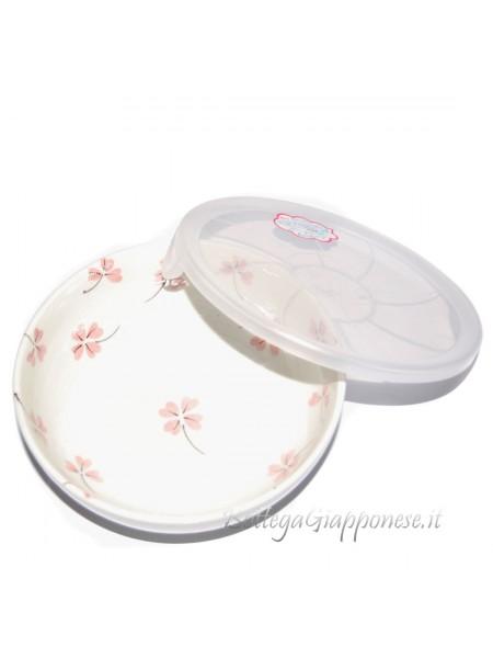 Ciotola ceramica disegno quadrifoglio rosa (16x5,5cm)