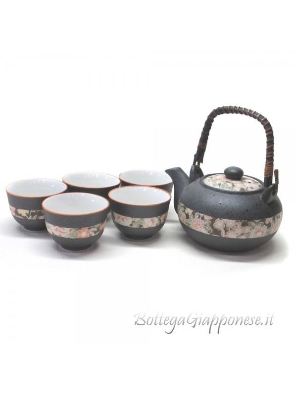 Kyusu set giapponese teiera yuzen con filtro (6 pz.)
