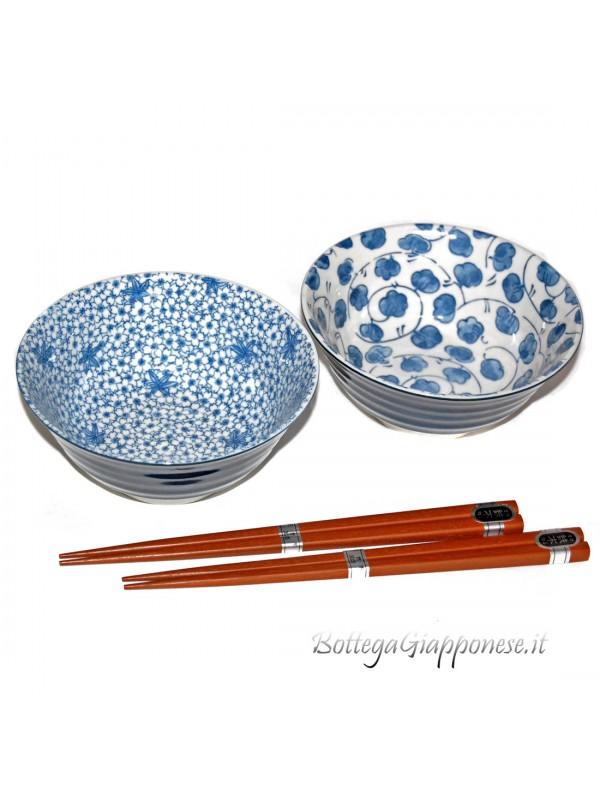 Ciotole ceramica giapponese (set x2) indaco naturale A