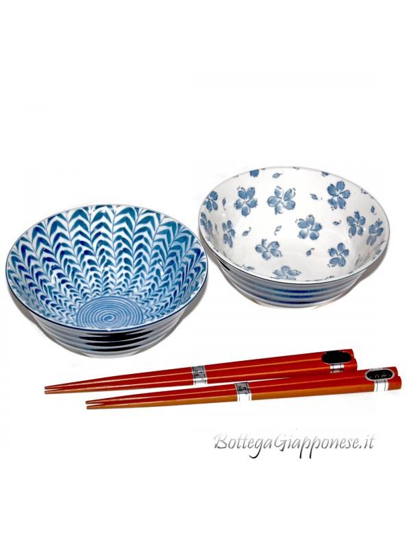 Ciotole ceramica giapponese (set x2) indaco naturale B