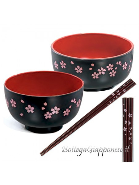 Ciotole e bacchette in set fiori sakura