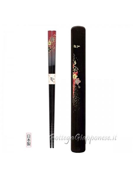 Hashi bacchette con custodia set yuzen rosso