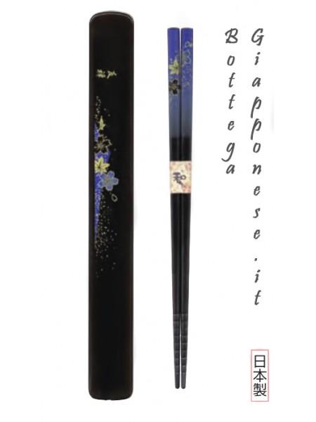 Hashi bacchette con custodia set yuzen blu