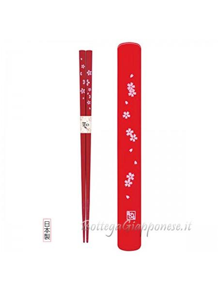 Hashi bacchette con custodia set sakura rosso