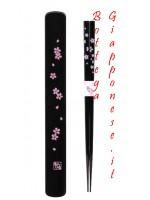 Hashi bacchette con custodia set sakura nero