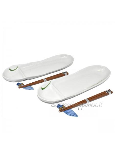 Ceramica White coppia piatti e accessori da sushi
