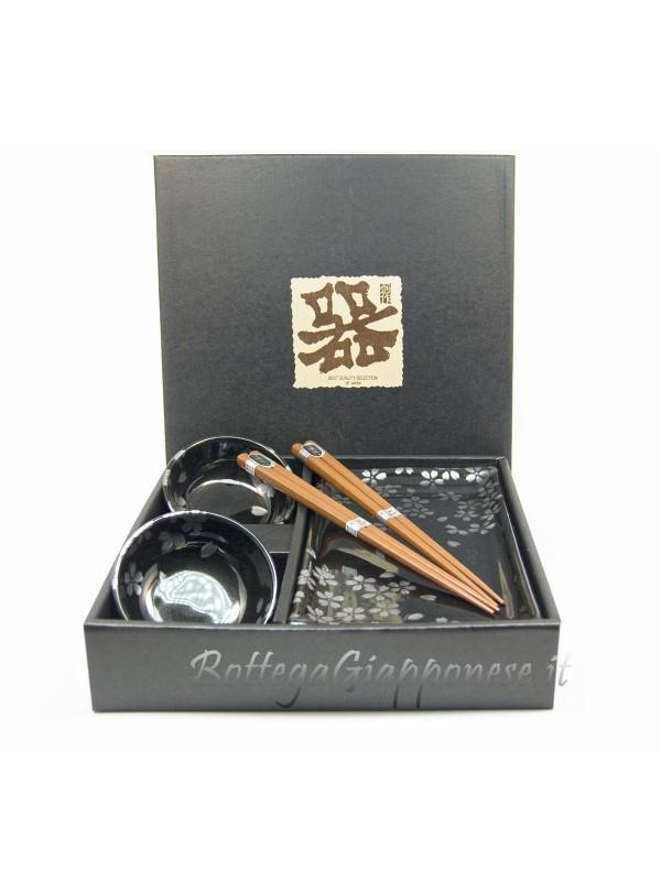 Box sushi set Sakura x2 ciotole piatti e bacchette