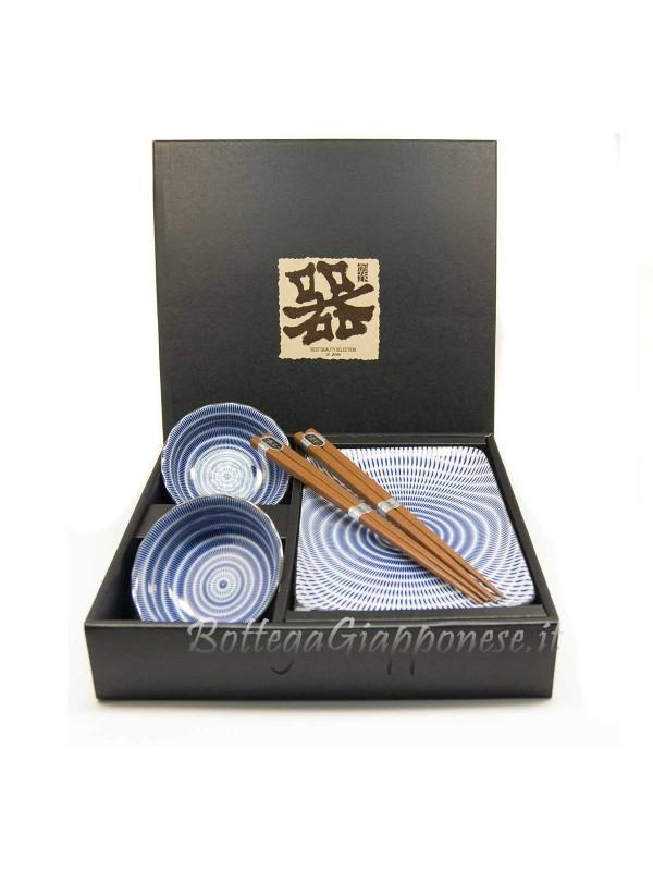 Box sushi set Kyoto x2 ciotole piatti e bacchette