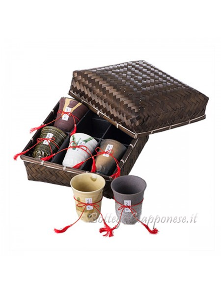 Bicchieri set regalo in cesto bambù