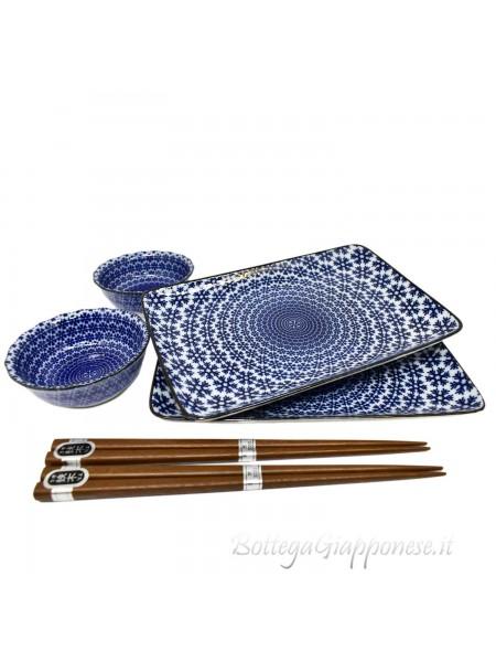 Box sushi set x2 indaco piatti ciotole e bacchette