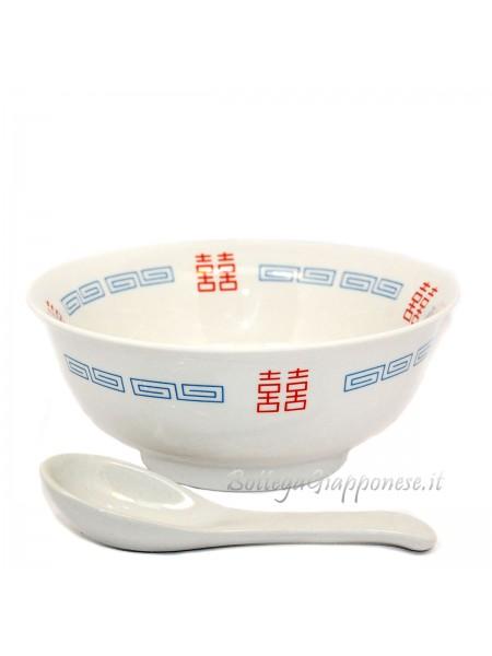 Ciotola e cucchiaio ceramica ramen (18x7,5cm)