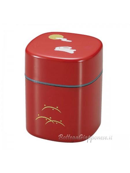 Box rosso contenitore tè con disegno coniglio
