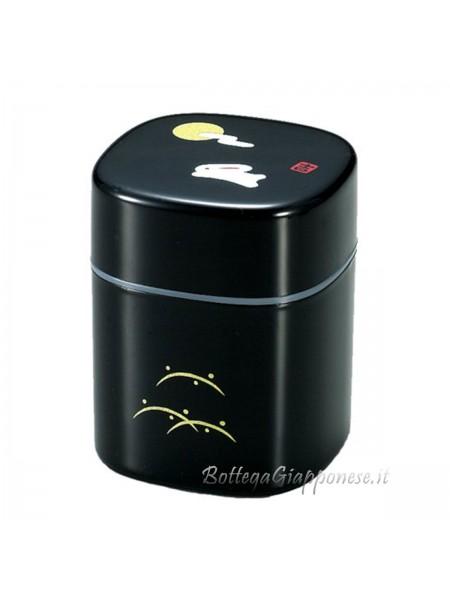 Box nero contenitore tè con disegno coniglio