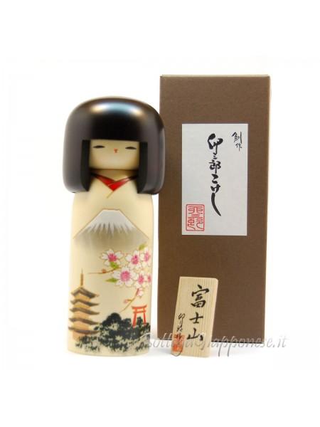 Kokeshi Fujisan bianca artigianale