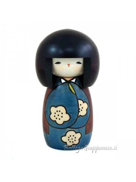 Kokeshi Kojitsu blue artigianale