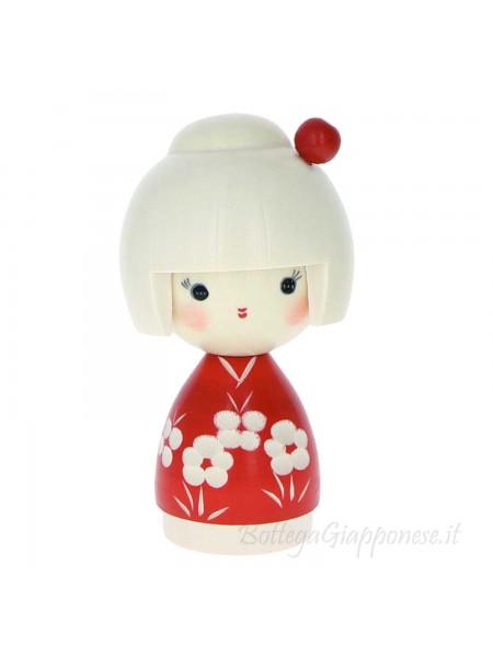 Kokeshi Osanpo kimono rosso