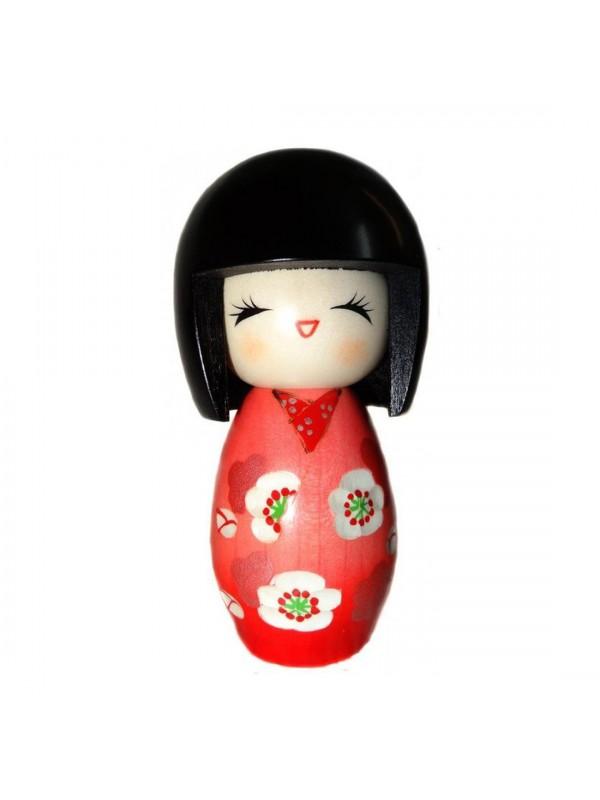 Kokeshi Ume no hana bambola in legno inciso