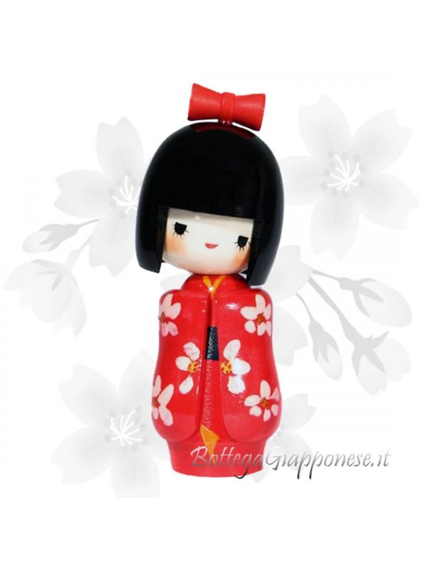 Kokeshi Otomesode bambola con furisode rosso
