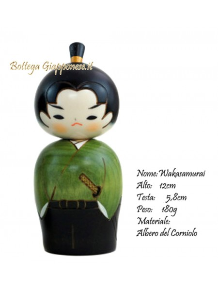 Kokeshi wakasamurai artigianale