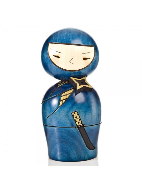 Kokeshi Ninja blu artigianale