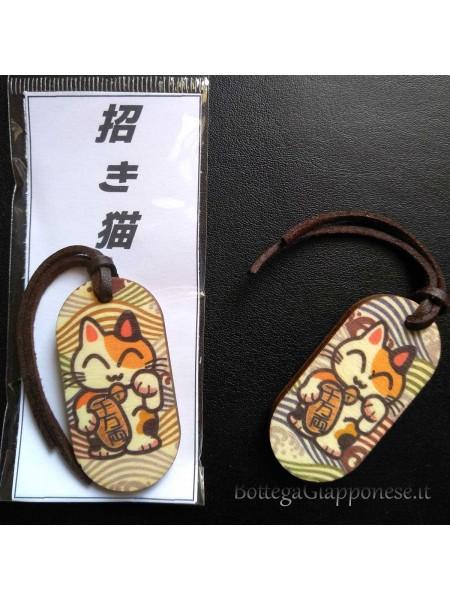 Porta chiavi Laccetto maneki neko in legno