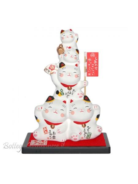 Maneki Neko gruppo di cinque gatti bianchi