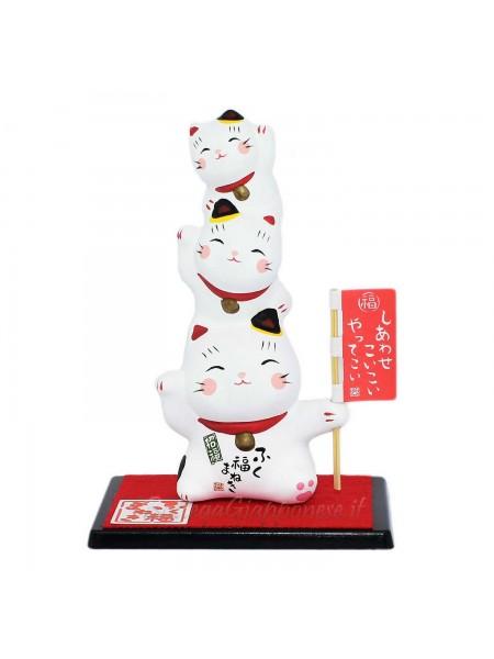 Maneki Neko tre gattini bianchi shiawase koi koi