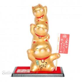 Maneki Neko tre gattini dorati shiawase koi koi