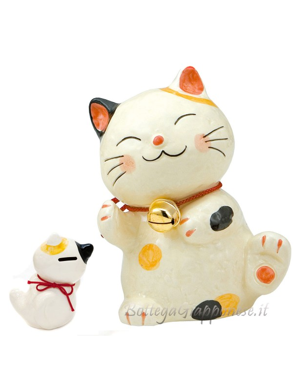Maneki neko gatto salvadanaio tricolore (15cm)