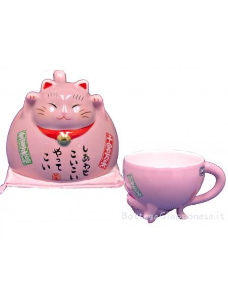Maneki Neko tazza rosa