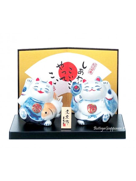 Maneki Neko coppia gatti porta fortuna e felicità
