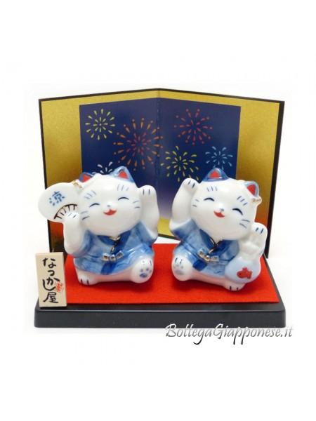 Maneki Neko coppia di gattini matsuri