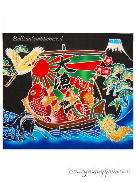 Tessuto Stampa grande pescata fortuna giapponese