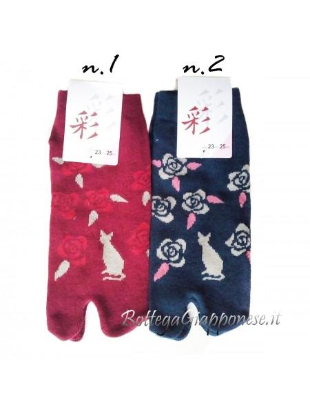 Tabi fiori e gatto calze infradito (tag.M)