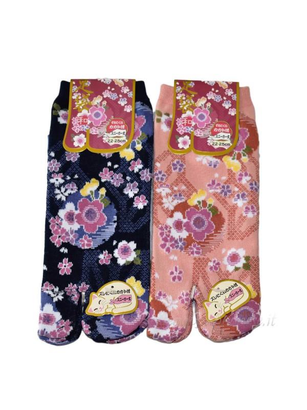 Tabi calze infradito disegno fiori sakura (tag.M) A