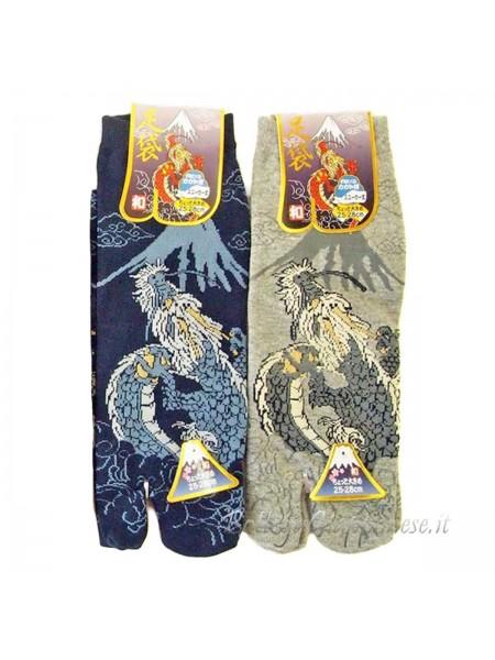 Tabi calze infradito disegno ryu e Fuji (tag.L) due colori