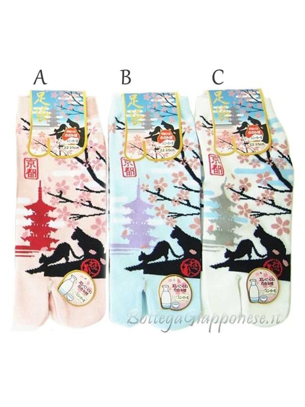 Tabi calze infradito disegno gatti sakura (tag.M)b
