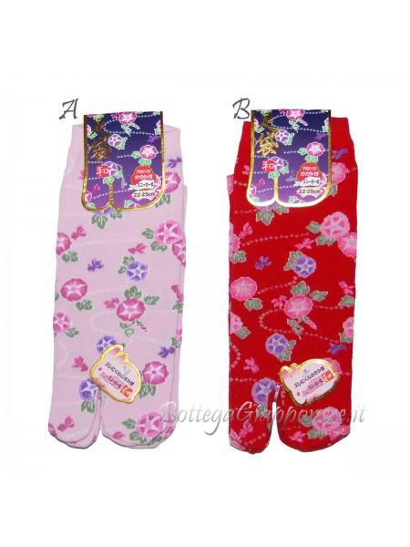 Tabi calze infradito disegno fiori asagao (tag.M)